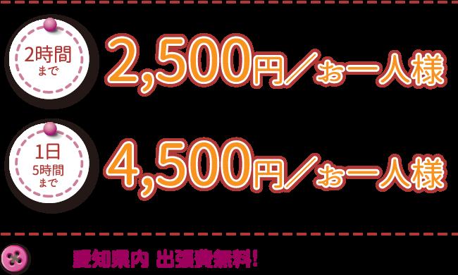 2時間まで|2,500円/お一人様 1日5時間まで|4,500円/お一人様 なんと! 愛知県内 出張費無料!(県外の場合、交通費等実費を申し受けます)